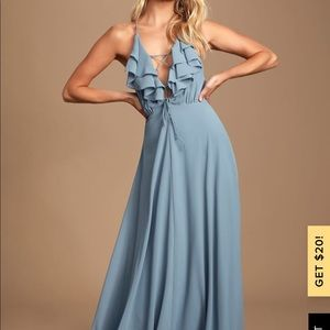 Merideth Slate Blue Ruffled Lace-Up Maxi Dress